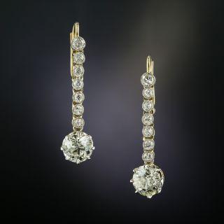 Edwardian 2.32 Carat Diamond Drop Earrings - GIA  - 2