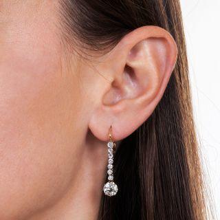 Edwardian 2.32 Carat Diamond Drop Earrings - GIA