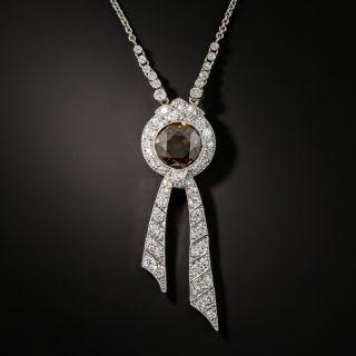 Edwardian 2.33 Natural Brown Diamond Lavalière Necklace - 1