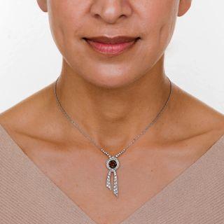 Edwardian 2.33 Carat Natural Brown Diamond Lavalière Necklace