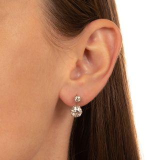Edwardian 2.56 Carat Twin-Stone Diamond Earrings - GIA K SI2