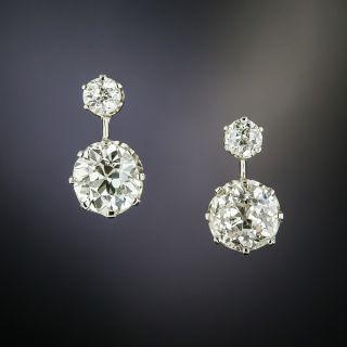 Edwardian 2.56 Carat Twin-Stone Diamond Earrings - GIA K SI2 - 2