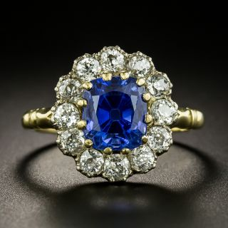 Edwardian 3.78 Carat No-Heat Ceylon Sapphire and Diamond Ring  - 2