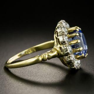 Edwardian 3.78 Carat No-Heat Ceylon Sapphire and Diamond Ring