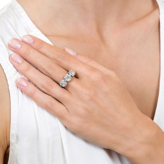 Edwardian 3.94 Carat Total Weight Three- Stone Diamond Engagement Ring - GIA