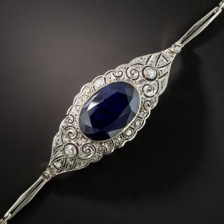 Edwardian 5.50 Carat No-Heat Sapphire And Diamond Bracelet - 2