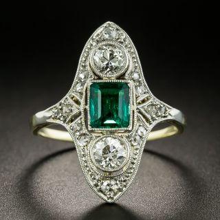 Edwardian .50 Carat Emerald and Diamond Dinner Ring - 2