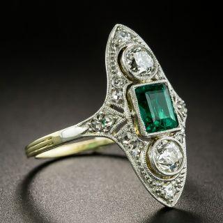 Edwardian .50 Carat Emerald and Diamond Dinner Ring
