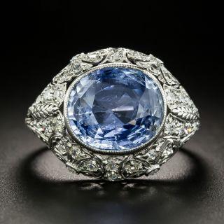 Edwardian 6.25 Carat No-Heat Ceylon Sapphire and Diamond Ring - 2