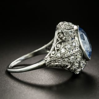 Edwardian 6.25 Carat No-Heat Ceylon Sapphire and Diamond Ring