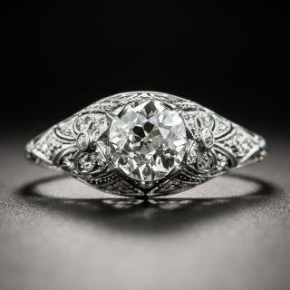 Edwardian .96 Ct. Diamond Platinum Solitaire Engagement Ring - GIA J VS2 - 2