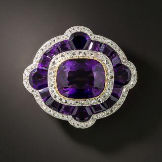 Edwardian Amethyst and Diamond Brooch - 3