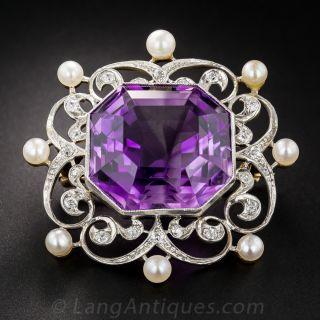 Edwardian Amethyst, Diamond and Pearl Pin - 1