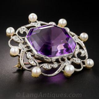 Edwardian Amethyst, Diamond and Pearl Pin