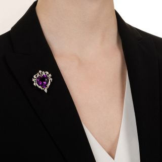 Edwardian Amethyst Heart and Diamond Necklace/Brooch