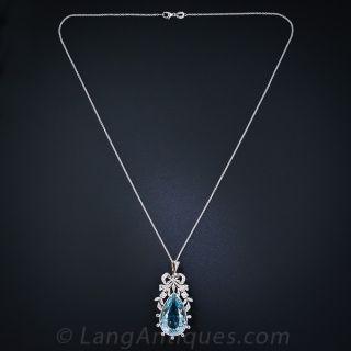 Edwardian Aquamarine and Diamond Bow Pendant - 2
