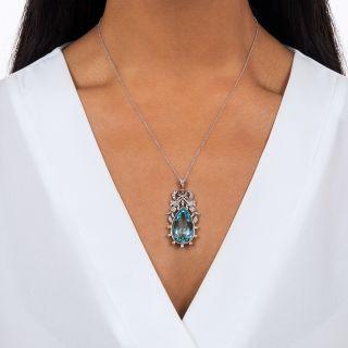 Edwardian Aquamarine and Diamond Bow Pendant