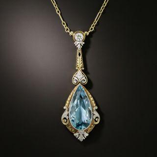 Edwardian Aquamarine and Diamond Pendant - 2
