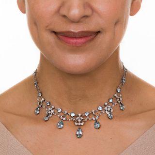 Edwardian Aquamarine and Pearl Necklace