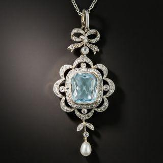 Edwardian Aquamarine, Diamond and Pearl Necklace - 2