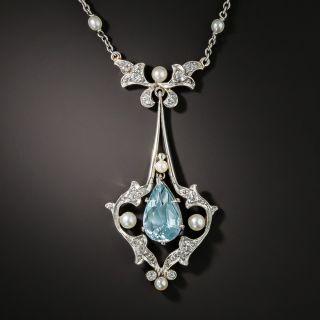 Edwardian Aquamarine Lavaliere Necklace  - 2