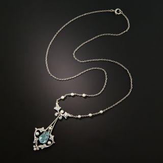 Edwardian Aquamarine Lavaliere Necklace