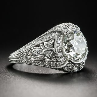 Edwardian/Art Deco 2.36 Carat Diamond Platinum Engagement Ring - GIA K VS2