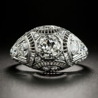 Edwardian/Art Deco .70 Carat Platinum Diamond Engagement Ring - 2