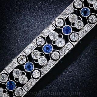 Edwardian/Art Deco Diamond and Sapphire Bracelet - 1