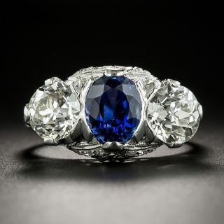Edwardian/Art Deco No-Heat Sapphire and Diamond Ring by Maurice Tishman - 2