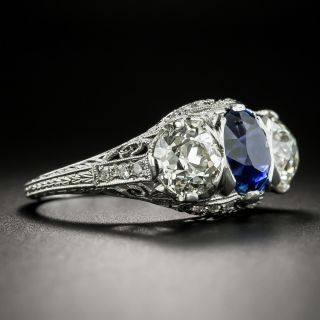 Edwardian/Art Deco No-Heat Sapphire and Diamond Ring by Maurice Tishman