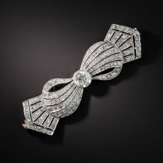 Edwardian/Art Deco Platinum Diamond Bow Brooch - 1