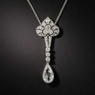 Edwardian/Art Deco Platinum Diamond Lavaliere Necklace - 2