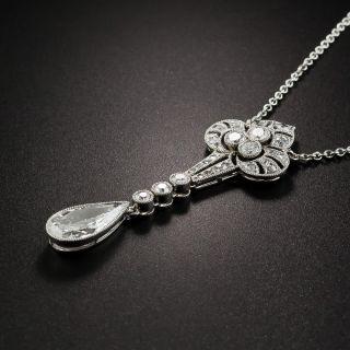Edwardian/Art Deco Platinum Diamond Lavaliere Necklace