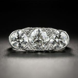 Edwardian/Art Deco Three-Stone Platinum Diamond Ring - GIA   - 1