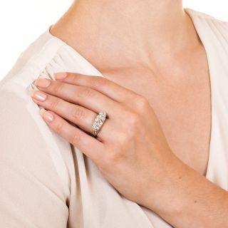 Edwardian/Art Deco Three-Stone Platinum Diamond Ring - GIA