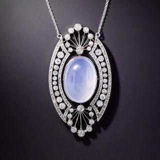 Edwardian Blue Chalcedony and Diamond Pendant Necklace - 1