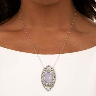 Edwardian Blue Chalcedony and Diamond Pendant Necklace