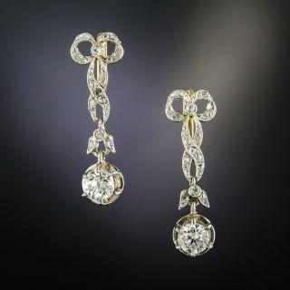 Edwardian Bow Motif Diamond Dangle Earrings - 2