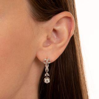 Edwardian Bow Motif Diamond Dangle Earrings