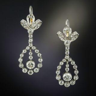 Edwardian Bow Top Diamond Dangle Earrings - 2