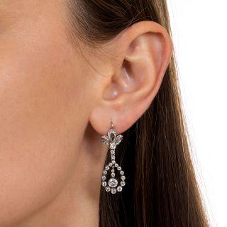 Edwardian Bow Top Diamond Dangle Earrings