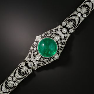 Exceptional Edwardian Cabochon Emerald and Diamond Bracelet - 2