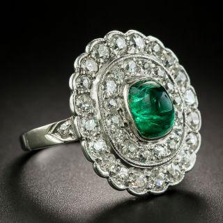 Edwardian Cabochon Emerald and Diamond Ring