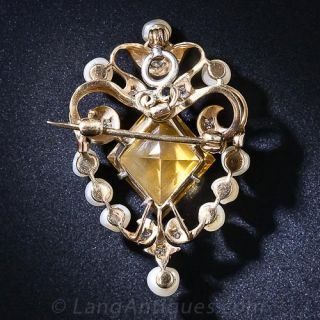 Edwardian Citrine, Pearl and Diamond Pendant and Pin