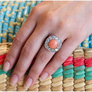 Edwardian Coral and Diamond Halo Ring