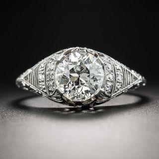 Edwardian/Deco 1.50 Carat Diamond Platinum Engagement Ring - GIA K SI1