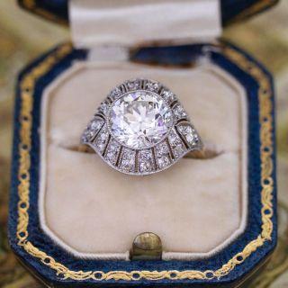 Edwardian/Deco 2.90 Carat Diamond Engagement Ring - GIA G VS1