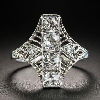 Edwardian/Deco Platinum Diamond Dinner Ring