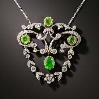 Edwardian Demantoid Garnet and Diamond Pendant - 2